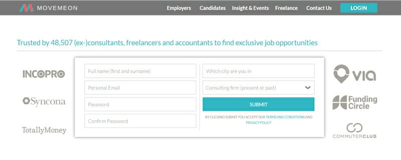 Movemeon Best online platform for independent consultants to find remote job opportunities.