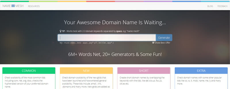 NameMesh Best business name finder to find the perfect company name for your startup.