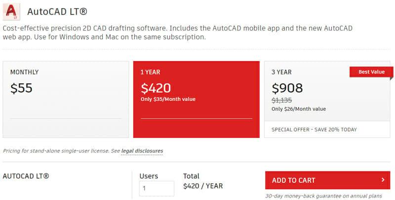 Pricing of AutoCAD LT