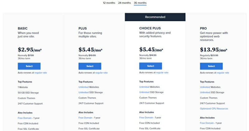 Pricing package of Bluehost Shared Hosting
