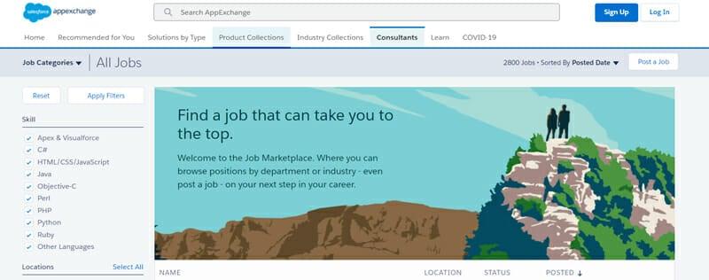 Salesforce AppExchange Best job board to find freelance sales jobs.