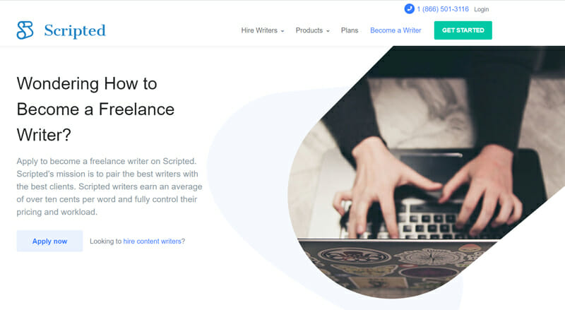 Scripted Best freelance job marketplace offering freelance writing in countries accepting Stripe payments.