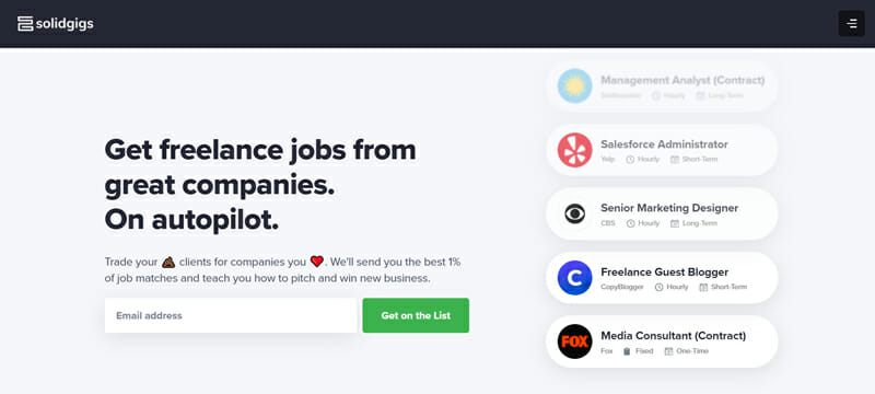 Solidgigs Best premium freelance job board to find work from home jobs