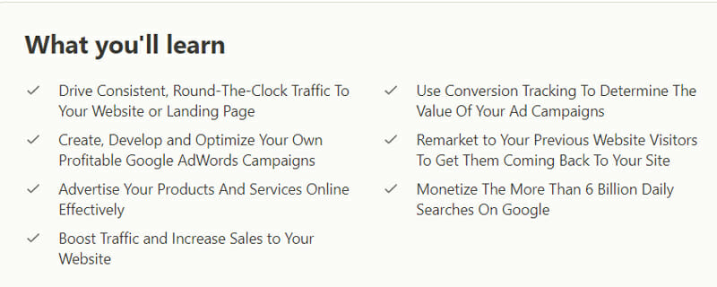 The learning outcomes segment of a Google Ads Training on Udemy.