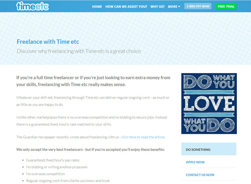 TimeEtc Best virtual assistant offering work to freelancers in the US.