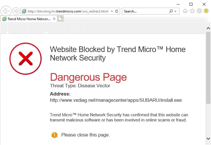 TrendMicro - Dangerous page found