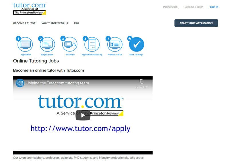 Tutor.com Best online platform for freelance tutors to teach various students in the US.