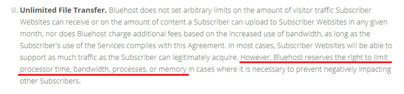 Unlimited file transfer comes with terms and conditions in bluehost
