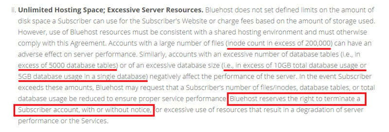 Unlimited hosting comes with terms and condition in bluehost