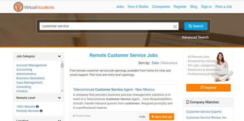 Virtual Vocations Best job board for customer service reps in the US to find freelance work