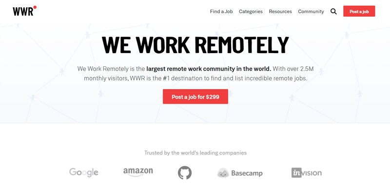 We Work Remotely Best job board offering freelance jobs to customer service reps.