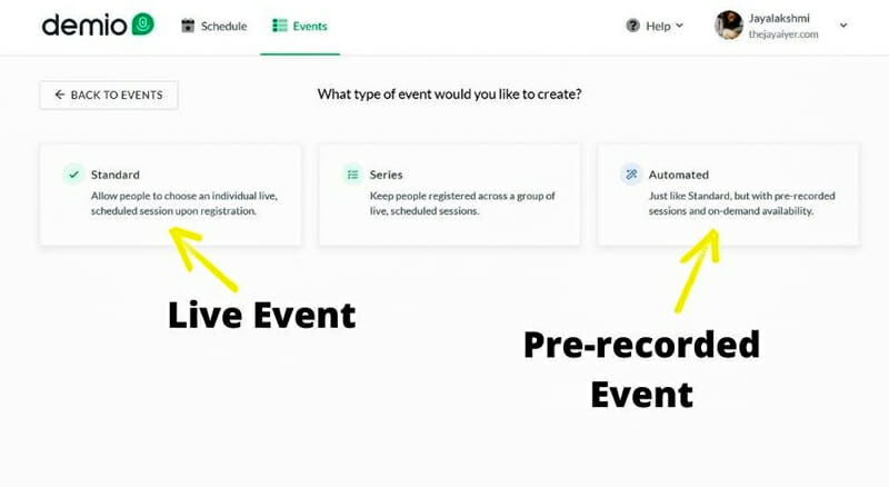 When you select Add New Event, you are presented with two options.