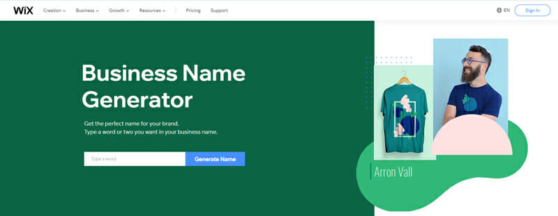 Wix Best business name generator to find a catchy name for your small business.