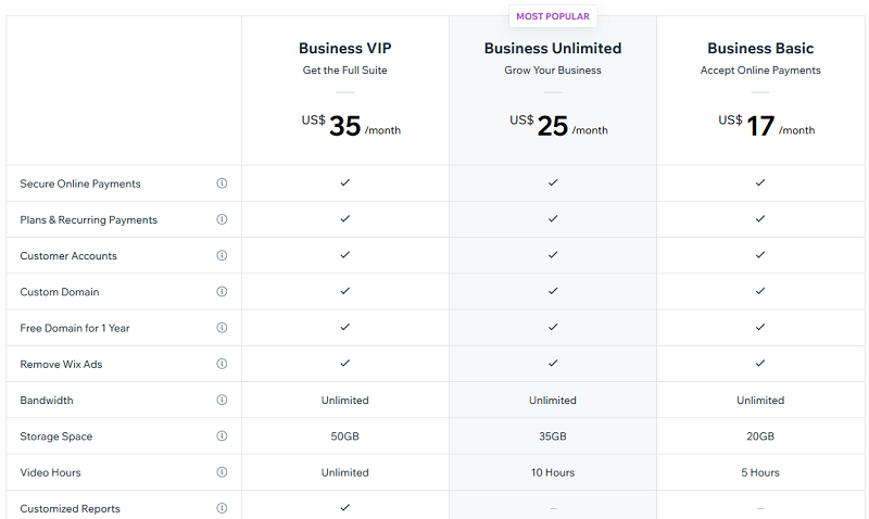 Wix Pricing - Business and eCommerce Plans