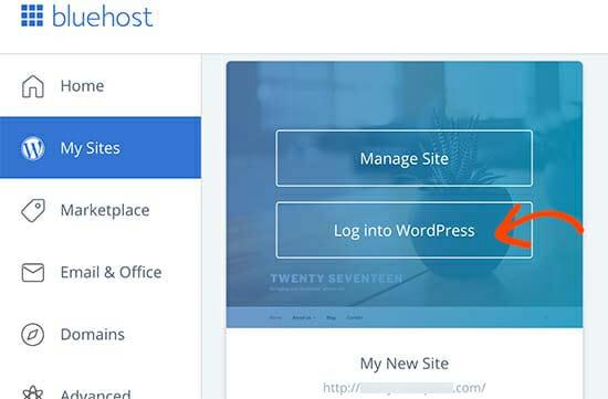 Wordpress in bluehost account