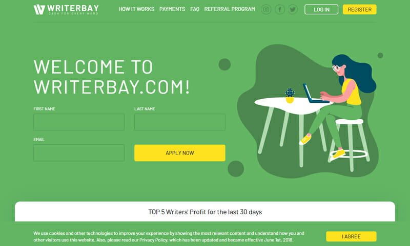 Writerbay Best freelance job board for professional writing gigs.