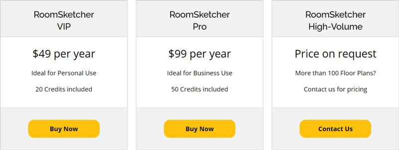 Pricing of RoomSketcher