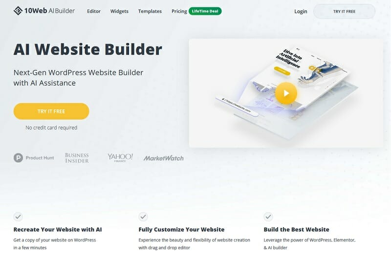 10Web - Best all-in-one website builder for SEO-conscious customers.