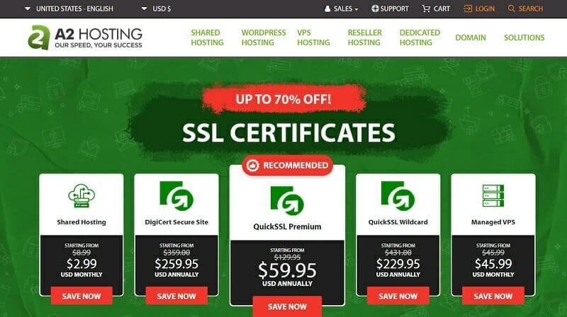 A2Hosting - homepage