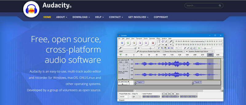 Audacity podcast recording software