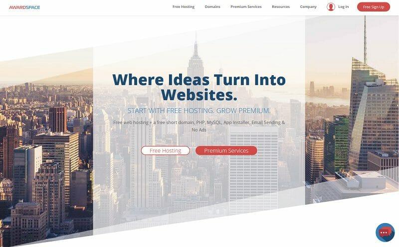 AwardSpace homepage