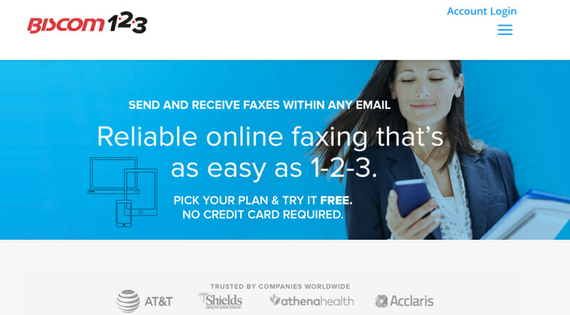 Biscom 123 online fax service with all the basic features