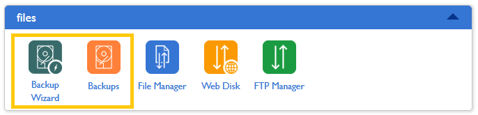 Bluehost - Backups and backup wizard