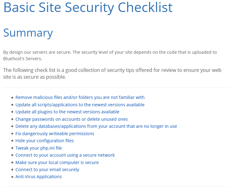 Bluehost Basic Site Security Checklist