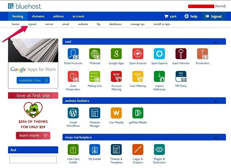 Bluehost cPanel look