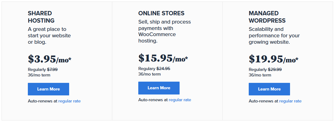 Bluehost pricing - shared hosting - online stores - managed wordpress