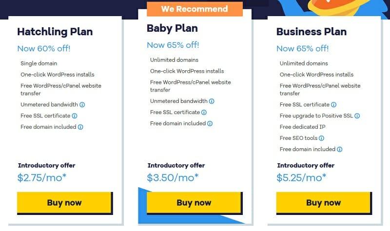 Breakdown of HostGator's Shared Hosting pricing plans