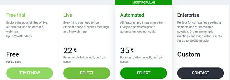 ClickMeeting pricing plan