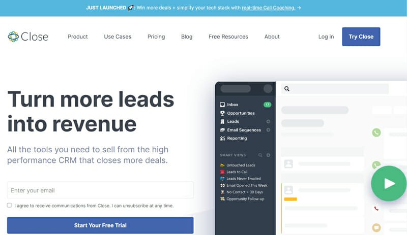 Close is an efficient tool built by real salesmen