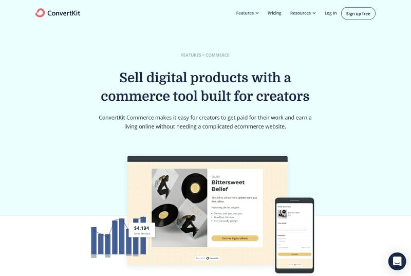 ConvertKit - Sell Digital products with a commerce tool built for creators