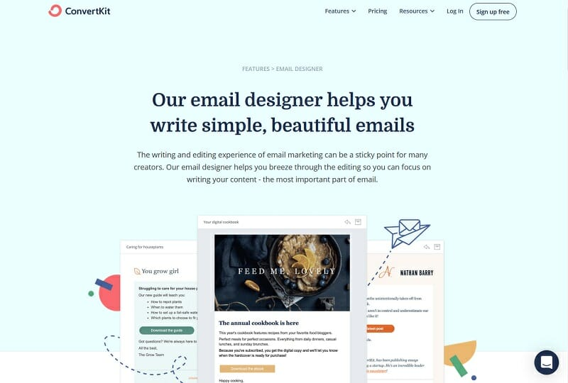 Convertkit - Email Designer helps you write simple, beautiful emails