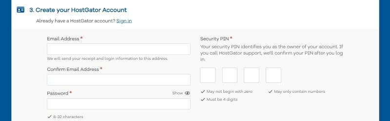 Create HostGator Account