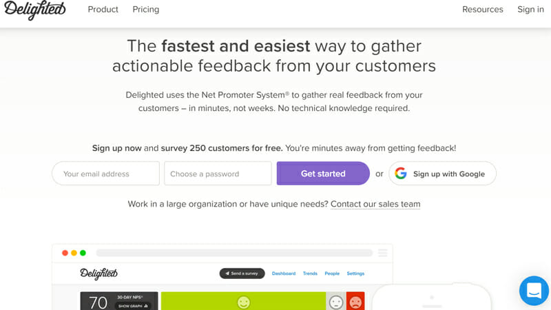 Delighted Best Online Survey Software for Measuring NPS, CSAT, CES and 5-Star Ratings