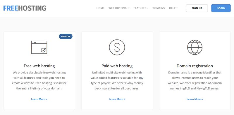 FreeHosting.com Homepage