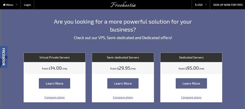 Freehostia.com pricing