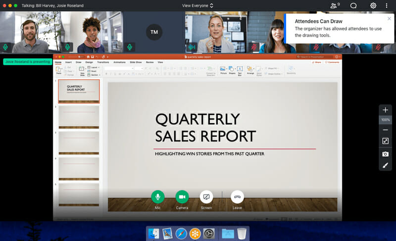 Web conferencing software alows you to share documents, files, whiteboard and slides presentations