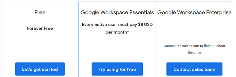 Google Hangouts Meet Pricing Plan