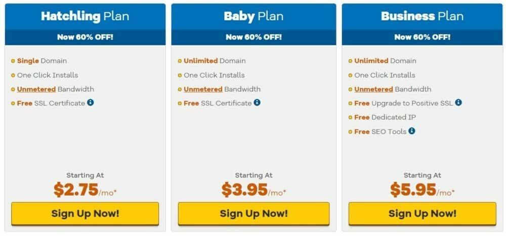 HostGator - Application Hosting pricing plans