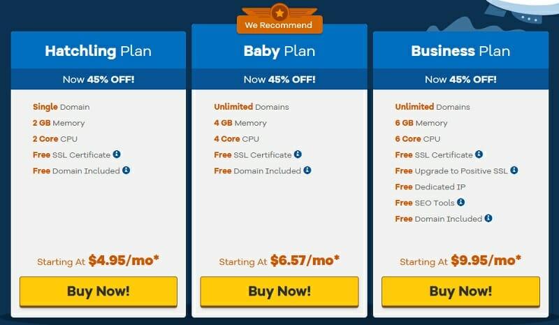 HostGator Cloud Hosting pricing plans