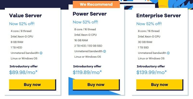 HostGator - Dedicated Hosting pricing plans
