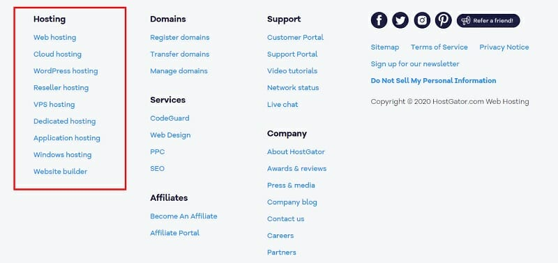 HostGator - Homepage - Footer
