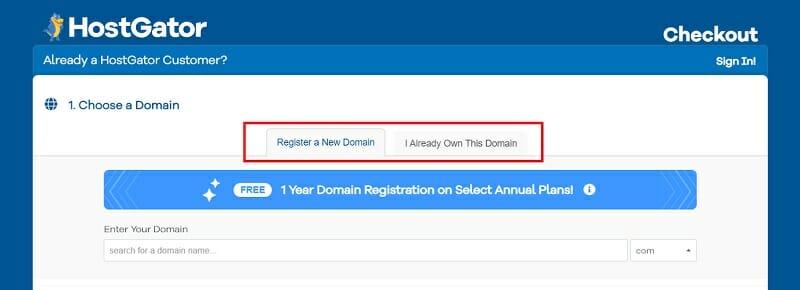 HostGator - Register a new domain