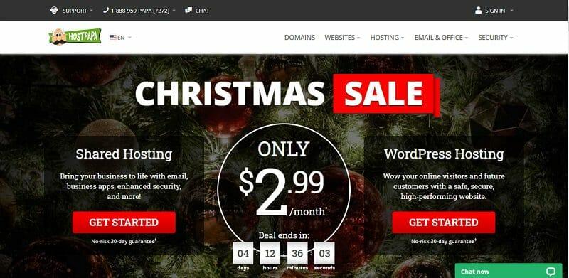 HostPapa - homepage - Christmas Offer