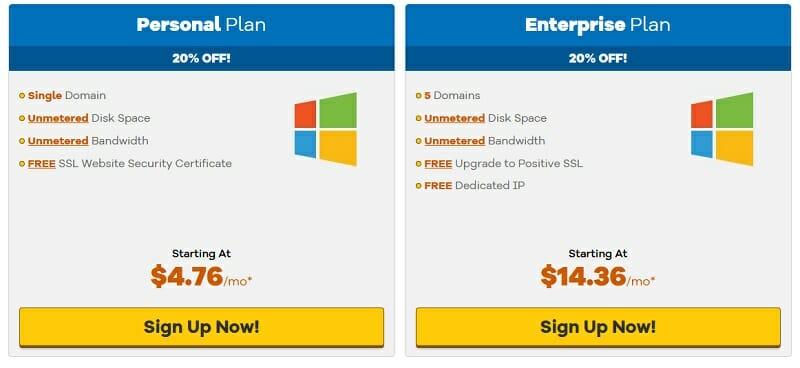 Hostgator - Windows Hosting pricing plans