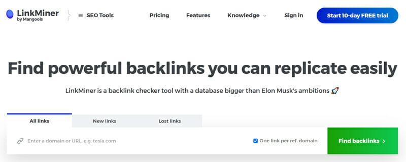 LinkMiner backlink tracker