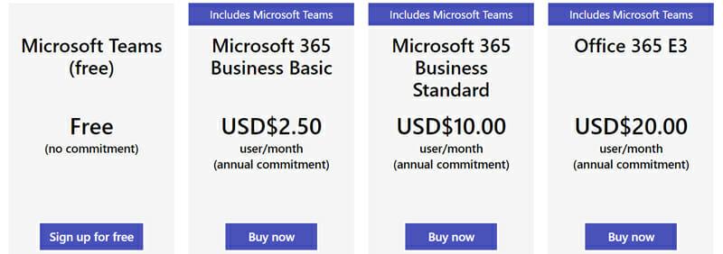 Microsoft Pricing Plan